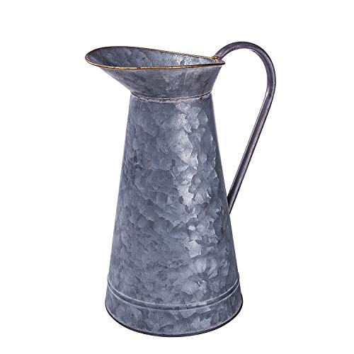 Lanperle Decorative Galvanized-Metal Pitcher | Garden Decoration | Gardening Gift/Souvenir | Metal Flower Pot/Vase Decor