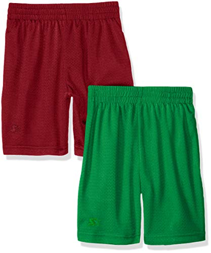 Starter Big Boys' 2-Pack Basic Mesh Short, Maroon with Team Field Green, X-Small