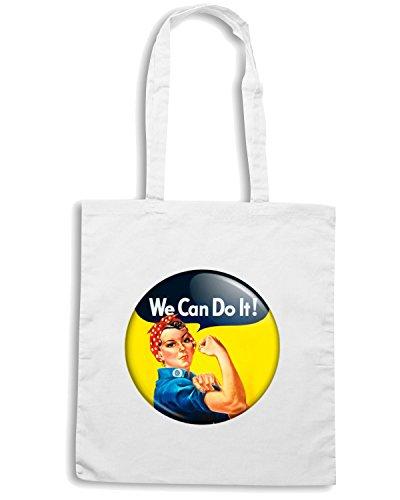 T-Shirtshock - Bolsa para la compra TR0156 We Can Do It Rosie Riveter Vintage Feminist Retro WW2 Blanco