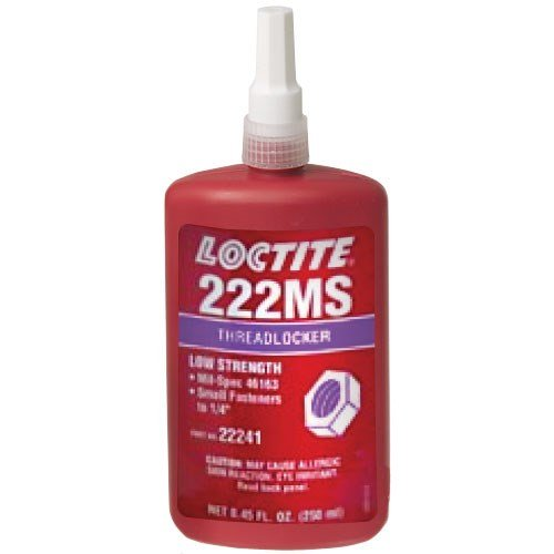 Loctite 22241 Purple 222MS Low Strength Threadlocker, 300 Degree F Maximum Temperature, 250 mL Bottle