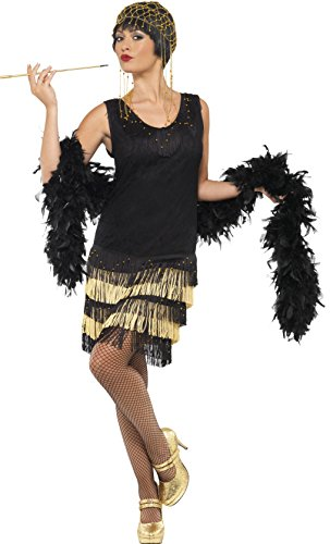 Flapper Dress Costume Uk (Smiffy's Women's 1920 Fringed Flapper Costume, Dress with Lace Front and Beaded Fringing, 20's Razzle Dazzle, Size 10-12, 33676)