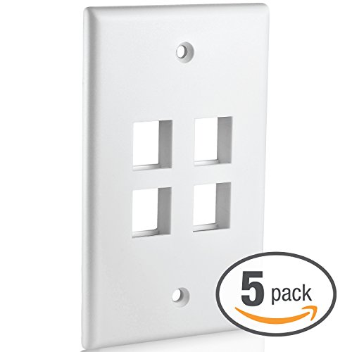 Mediabridge Keystone Wall Plate (4-Port, White) - 5 Pack (Part# 51W-104-5PK)