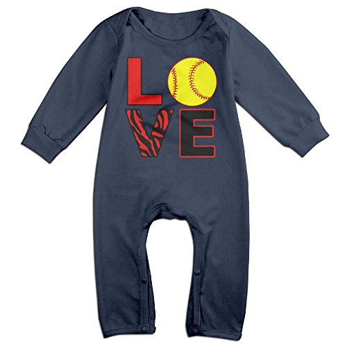 Mrei-leo Toddler Baby Boy Girl Organic Coverall Love Softball Infant Long Sleeve Romper Jumpsuit