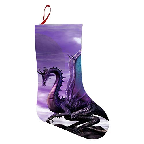69PF-1 Christmas Stocking Purple Dragon Phoenix Fireplace Decoration Socks Candies Toys Gifts Party Accessory