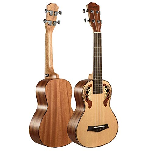 BeesClover 23 inch Ukulele Concert an Guitar Spruce Panel Grape Hole Electric Ukelele with Pickup EQ Musical Instruments Electric Uku and All 23 inches