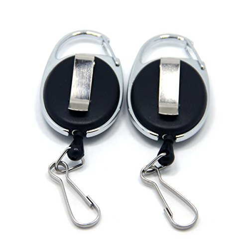 SAMSFX Fly Fishing Zinger Retractor for Gear Tools Holder (Black Zinger with Back Clip 2pcs)