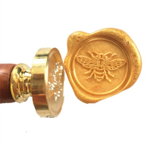 MDLG Vintage Cute Bee Flying Personalized Custom Picture Letter Logo Wedding Invitation Wax Seal Stamp Rosewood Handle Set (Chocolate Invitations Party)