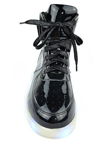 Chase & Chloe Twinkle-4 Donna Sneakers Alte Stringate Con Lacci Nero Pat