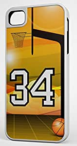 Basketball Sports Fan Player Number 34 White Rubber Hybrid Tough Case Decorative iPhone 5c Case