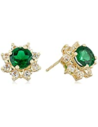 14k Yellow Gold Created Emerald and Created White Sapphire Plus Stud Earrings