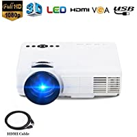 Projector,DOLEE Mini Pojector with HDMI Thread Multimedia Home Theater Video Projector 1080P Full HD 3D Projector Support Outdoor Indoor Movie Video Games SD iPad and Smartphone