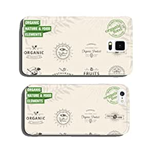 Set of badges and labels elements for organic nature and food cell phone cover case Samsung S5