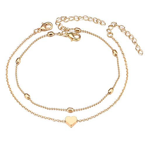 Gold Heart Ankle Bracelet - Fesciory Women Anklet Adjustable Beach Ankle Chain Gold Alloy Foot Chain Bracelet Jewelry Gift (Heart)