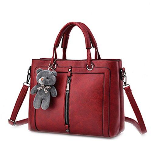 Alta capacidad de mujer PU Bolsa Bolsa Vintage Rojo Retro diseñador de bolsos de mano Cute Bear Tote hombro señoras 2 20cmXLongitud máx.X30cm 6