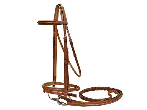 Padded Raised Bridle (Paris Tack Square Raised Crown Padded FS Bridle with Flash & Laced Reins, Chestnut, Full Size)