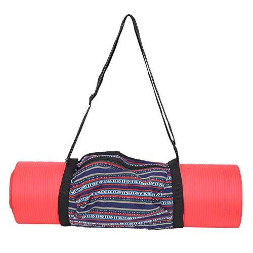FastUU Bolso de Yoga, Bolso de Hombro único de poliéster a Rayas Vintage Bolso de Almacenamiento Ajustable Duradero con…