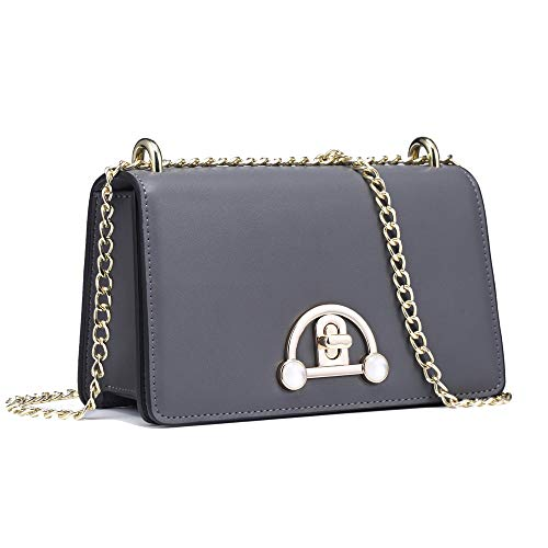 FT FUNTOR Leather Crossbody Bag for Women Shoulder Handbag Knob Lock with Chain ()