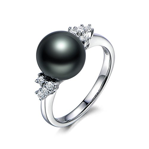 (10mm Tahitian Freshwater Black Pearl Cluster Diamond Solid 14k White Gold Solitaire Engagement Ring)