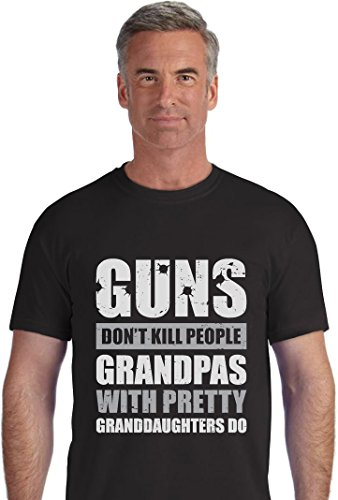 TeeStars Guns Don't Kill Grandpas With Pretty Granddaughters Do Father's Day Gift T-Shirt Large Black