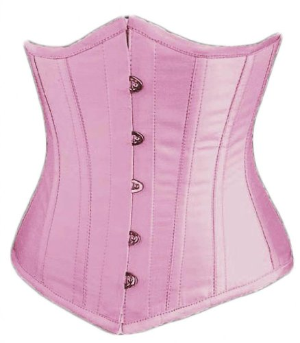 Alivila.Y Fashion Sexy Vintage Underbust Corset Bustier 2868A With G-String-Pink-XL/Bust:36-38inch Waist:30-32inch