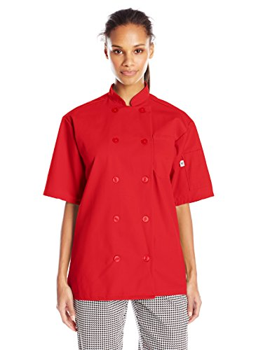 Uncommon Threads Unisex South Beach Chef Coat Short Sleeves, Red, 2X-Large by Uncommon Threads