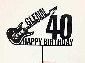 Guitarra eléctrica personalizable para decoración de tartas de cumpleaños, diseño de guitarra eléctrica: Amazon.es: Hogar