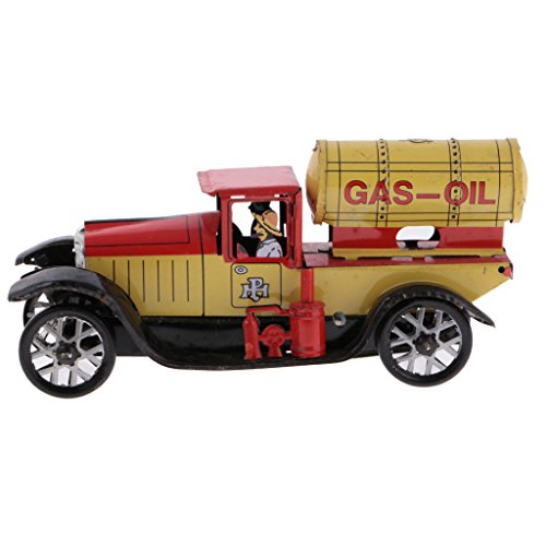 MagiDeal Classic Gas-oil Truck Tin Toy Collectible Clockwork Wind Up Toys for Kids