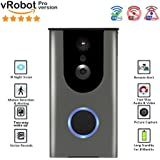 vRobot Wireless Video Doorbell,Wi-Fi Doorbell Battery Powered Wireless Smart, Pro Version,720P HD Camera,Two-way wake up,Motion Detection, Night Vision,Cloud Storage,Real-Time Video Speaker System
