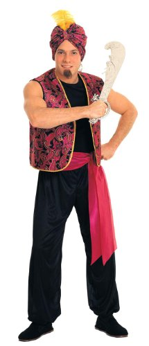 Men Genie Costumes (Rubie's Costume Sultan Complete Value Adult Costume, Black/Red, One Size)