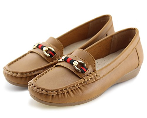 Jabasic Womens Slip-On Loafers Flat Casual Driving Shoes Leather Lined Brown-1 rovhE6LQ
