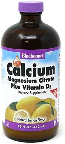 Bluebonnet Nutrition Liquid Calcium Citrate Magnesium Citrate, Vitamin D3, Bone Health, Gluten Free, Soy free, milk free, kosher, 16 Fl Oz, 32 Servings, Lemon Flavor