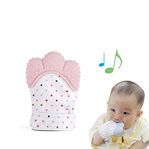 Domccy 1Pc Silicone Teether Glove Baby Molar Gloves Teething Toys Food Grade Non-Toxic Teething Mitt Provides Soothing Relief from Sore Gum Chewing BPA Free Silicon Glove Teeth Grading Toy (Pink) (Glove Gummee)