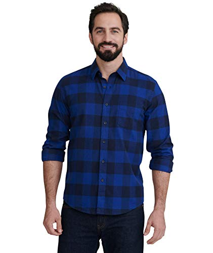 UNTUCKit Gruner Vetliner - Men's Button Down Shirt Long Sleeve, Navy & Blue Year-Round Buffalo Plaid, Medium Slim Fit