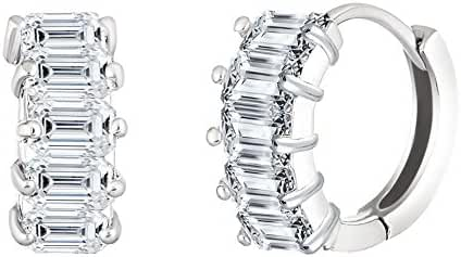 SPECIAL OFFER 18K White Gold Over Sterling Silver Cubic Zirconia Baguette Huggie Hoop Earring Gift