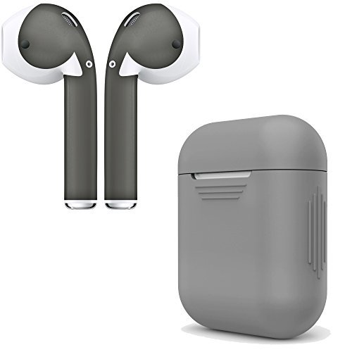 AirPod Skins & Charging Case Cover - Protective Silicone Cover and Stylish Wraps Bundle Compatible with Apple AirPods (Grey Case & Space Grey Skin)
