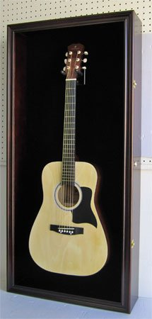 Large Display Case Acoustic and Electric Guitars, Wall mounted Cabinet, UV Protection Lockable Door, GTAR1(BL)-MAH