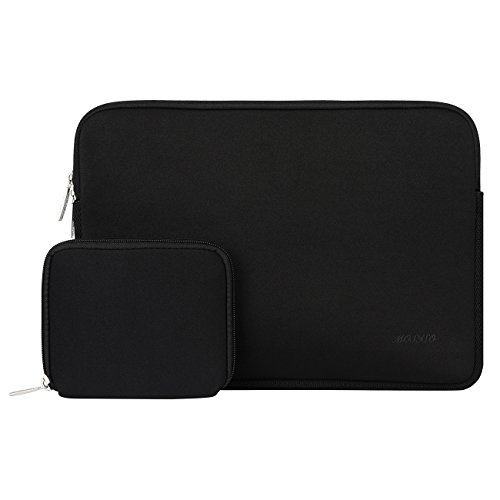 Notebook Sleeve Top Loading (Mosiso Water Repellent Lycra Sleeve Bag Cover for 13-13.3 Inch Laptop with Small Case for MacBook Charger, Black)