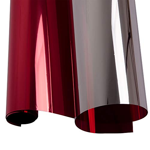 HOHOFILM Silver Red Tint Window Glass Film Reflective Solar Film for Home,Building ()