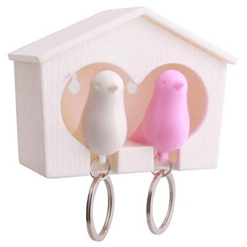 TraveT Lover Sparrow House Key Ring Holder Birdhouse Nest Whistle Key Holder Hook Keychain Home Wall Decor (Pink and White)