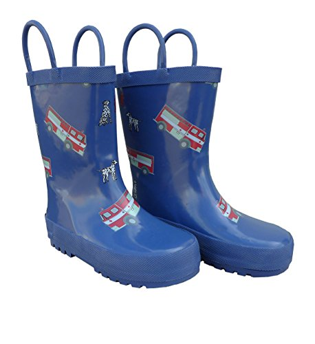 Foxfire for Kids Blue Fire Truck Rubber Boots size 12