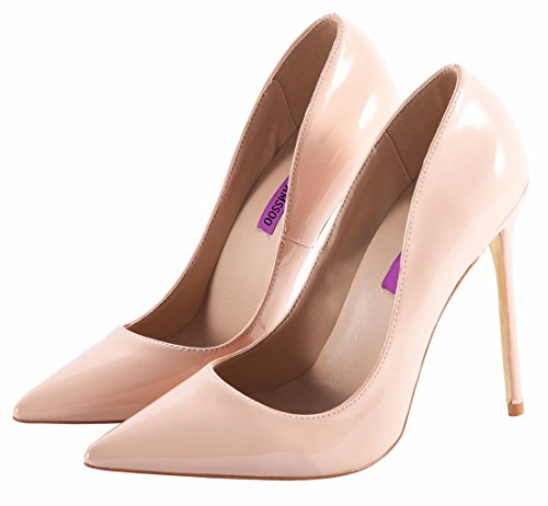Women's Sexy Fashion Shallow Pointed Toe Slip On High Heels Pumps Dress Stilettos Court Shoes Nude PU xzFl5v