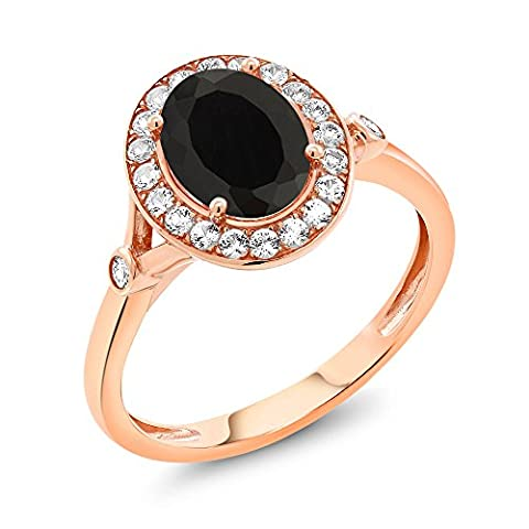 2.36 Ct Oval Black Onyx White Created Sapphire 10K Rose Gold Ring - Set Oval Onyx Ring