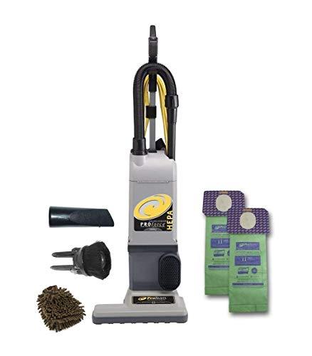 Proforce 1500XP HEPA Upright Vacuum Proteam, Hose Bagged Cleaner (Complete Set), with Bonus Premium Microfiber Cleaner Bundle