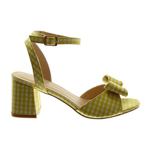 Noeud Chaussure Angkorly Lanière 7 Vichy Sandale Jaune Talon Mode Cheville Femme Bloc Lanière cm Haut Mule 4wqBd8nq