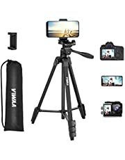 """ViWAA - T1 55"""" Adjustable Video Camera Tripod with Phone Tipod Mount and Portable Bag, Aluminum Lightweight Tripod for Phone, Camera"""