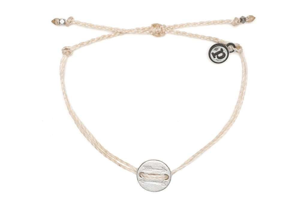 Pura Vida Silver OG Arrow Coin Beige Bracelet - Plated Charms, Adjustable Band - 100% Waterproof