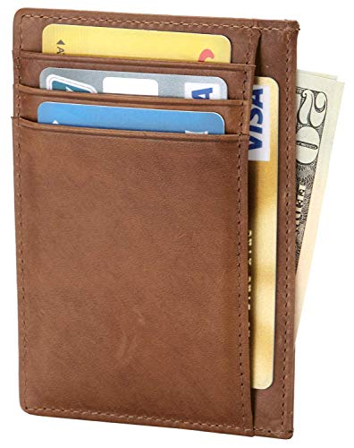 Thin Flat Credit Card Case - Slim RFID Blocking Wallet Thin Credit Card Holder Minimalist Leather Front Pocket Wallet for Men or Women - Oil Wax Brown
