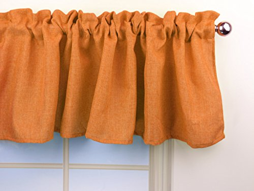 Aiking Home Pure 100% Faux Linen Window Valance - Size 56inch x 16inch, Pumpkin