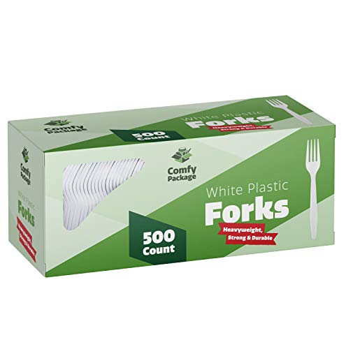 [500 Pack] Extra Heavyweight Disposable White Plastic Forks