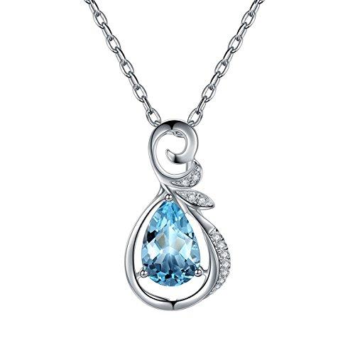 Hutang massif 18ct Or blanc 1,15CT Naturel Pierre précieuse aigue-marine et diamants Pendentif et collier pour femme fine Diamond-jewelry